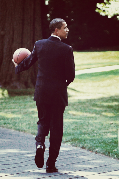 Barrak Obama with Basketball