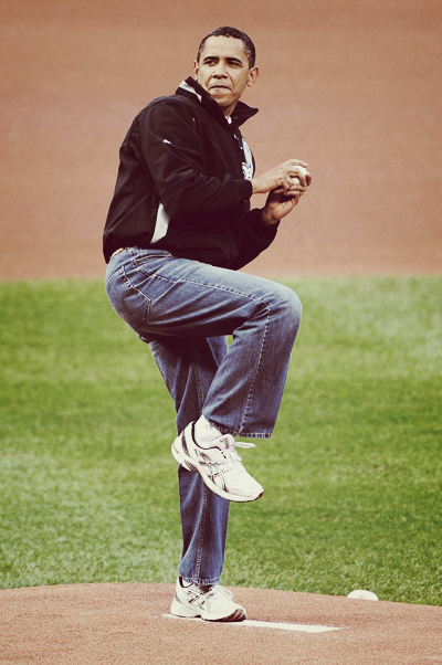Barrak Obama Throwing Baseball