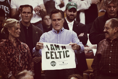 Mitt Romney with Celtics Towel